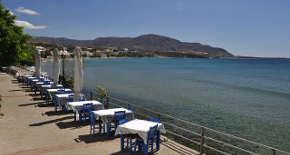 Water-front dining in the Makrigialos harbour area